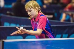 Girl playing table tennis, Royalty Free Stock Photo