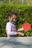 Girl playing table tennis Royalty Free Stock Image
