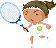 A Girl Playing Tennis Stock Images