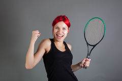 Girl playing tennis. Portrait of a girl playing tennis stock images