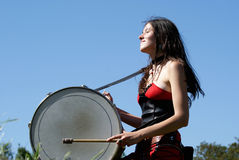 Girl Playing The Drums Royalty Free Stock Photos