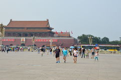 Girl Playing in Tiananmen Square Royalty Free Stock Photography