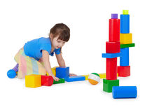 Girl playing toy bricks Stock Photography