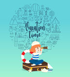 Girl playing with toy sailing boat.Travel and adventure concept. Royalty Free Stock Images