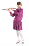 Girl playing transverse flute Stock Photo
