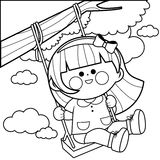 Girl playing on a tree swing coloring book page Stock Photo