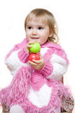 Girl playing with two balls stock image