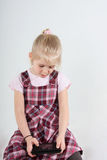 Girl playing video game royalty free stock photography