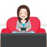 Girl Playing Video Game royalty free illustration