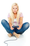 Girl playing video games Royalty Free Stock Image