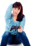 A girl playing video games, defeat Royalty Free Stock Photography