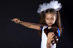 Girl playing of violin Stock Photography
