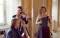 Girl playing violin, string ensemble rehearsal - - viola da gamb Royalty Free Stock Photography