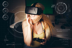 Girl playing in virtual reality Royalty Free Stock Photos