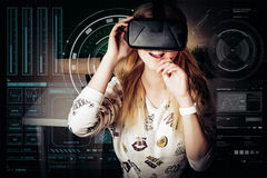 Girl playing in virtual reality Stock Image