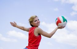Girl playing volleyball Royalty Free Stock Photo
