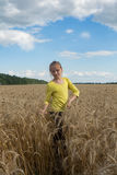 Girl playing in a wheat field. Gentle sunny day. Stock Image