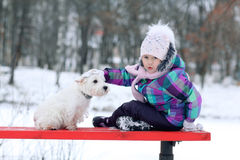 Girl playing with a white dog winter snow Royalty Free Stock Images