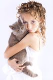 Girl  plays with a cat Stock Photos