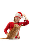 Girl plays with a cat Royalty Free Stock Images