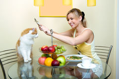 The girl plays with a cat kitchen Stock Photos