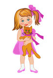 A girl plays with a cat Royalty Free Stock Photo