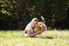 Girl plays with a dog. Adorable teenage girl plays with beagle dog in the park Stock Photos