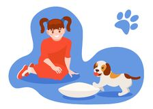 Girl plays with a dog, and feeds her from bowl. Caring for puppy, pet. Girl plays with a dog, and feeds her from bowl. Set of children with dog. Caring for four royalty free illustration
