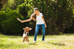 Girl plays with a dog in the yard Royalty Free Stock Photos
