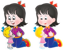 Girl plays with a doll. Isolated clipart illustration of a black-haired girl playing with a doll Royalty Free Stock Photo