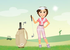 Girl plays golf. Illustration of girl plays golf Royalty Free Stock Image