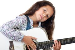 Girl plays the guitar Royalty Free Stock Photo