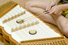 Girl plays Hammered Dulcimer Royalty Free Stock Photo