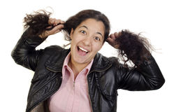 Girl plays with her long hair Royalty Free Stock Photography