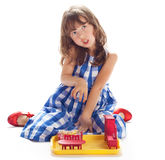 The girl plays Stock Photo