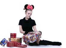 Girl plays mickey mouse Stock Photography