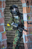 Girl Plays a paintball Royalty Free Stock Image