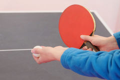 Girl plays in table tennis Royalty Free Stock Photo