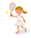 Girl plays tennis. The  character of a woman with racket and tennis ball on a white background Stock Photos