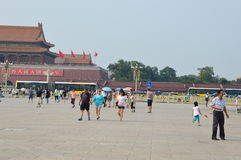 Girl Plays in Tiananmen Square Royalty Free Stock Photo