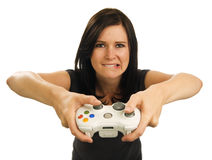 Girl plays video game Stock Photos