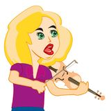 Girl plays on violin. Making look younger and beautiful girl plays on music instrument violin Stock Image