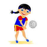 Girl plays volleyball Stock Photo