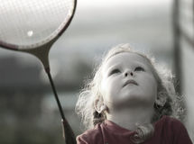 Free Girl Plays With A Racket In Badminton Stock Photo - 20456230