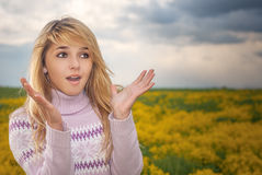 The girl is pleasantly surprised Stock Images