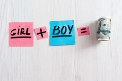Girl plus boy equals money composition, copy space Stock Image