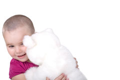 Girl with plush bear Royalty Free Stock Image