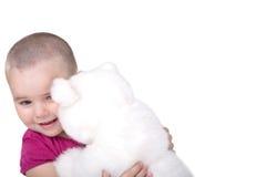 Girl with plush bear Royalty Free Stock Image