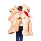 Girl with plush bears portrait Stock Photo