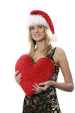 The girl with a Plush heart Stock Photography